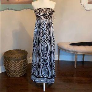 White House black market strapless satin dress
